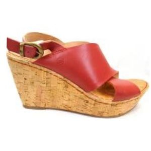 New Born Emmy Red Cork Wedge Leather Sandle 9